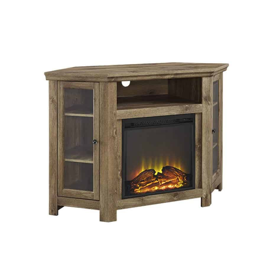 WE Furniture 48″ Corner TV Stand Fireplace Console