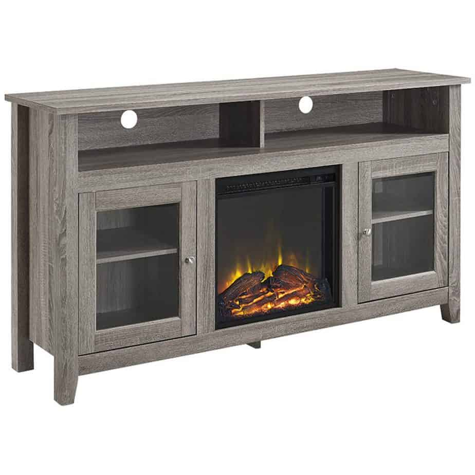 WE Furniture 58″ Wood HighBoy Style TV Stand Fireplace Console
