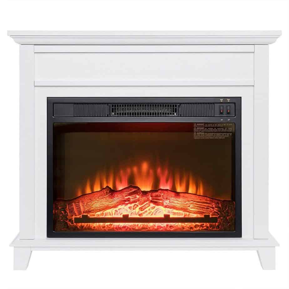 Golden Vantage 32' Freestanding White Wood Finish Electric Fireplace Stove Heater- Extremely Budget Friendly