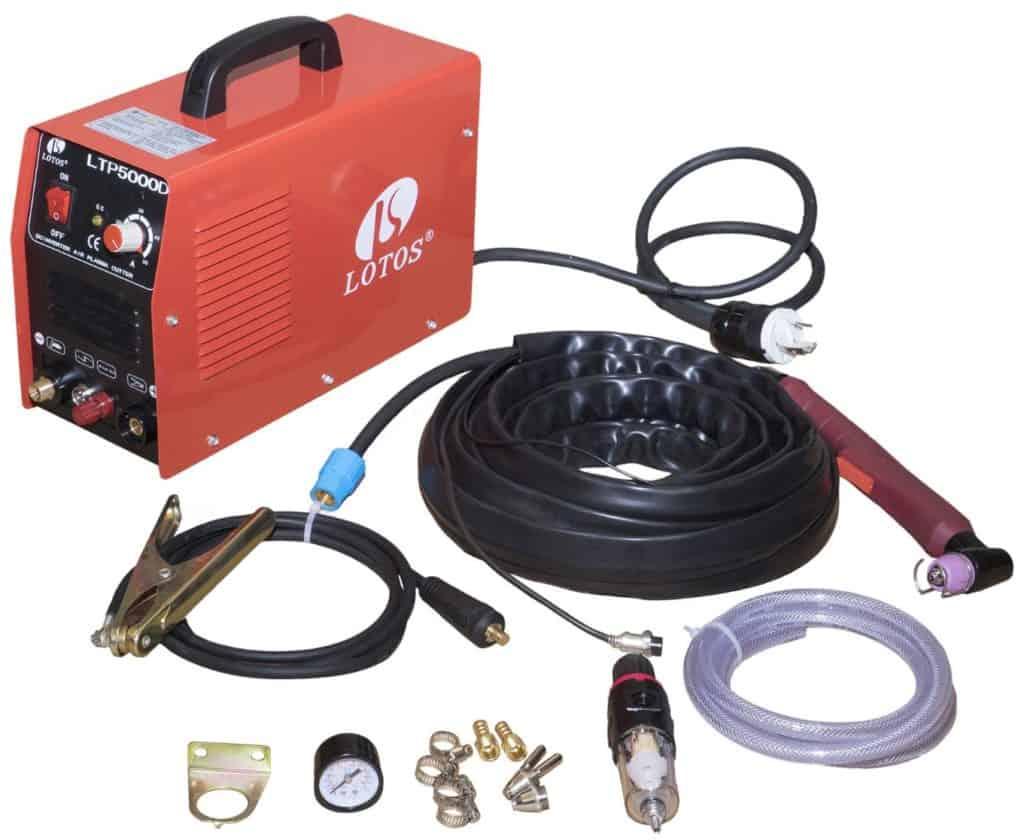 Lotos LTP5000D 50Amp Non-Touch Pilot Arc Plasma Cutter, Dual Voltage 110V/220V ½ inch Clean Cut