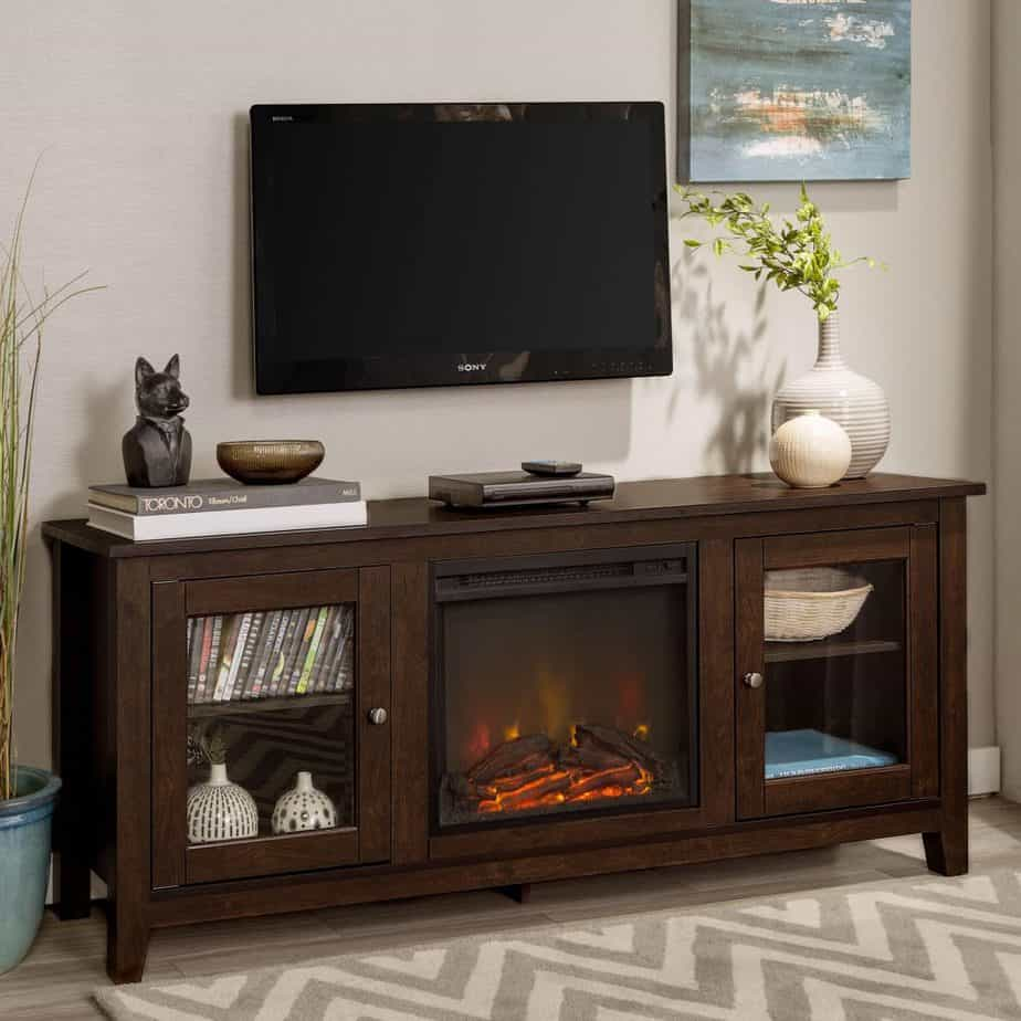 WE Furniture 58″ Wood Media TV Stand Console With Fireplace