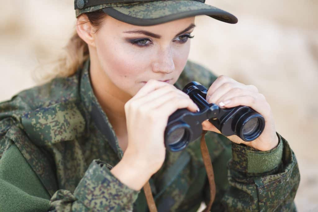 Military Woman With Carson Binoculars