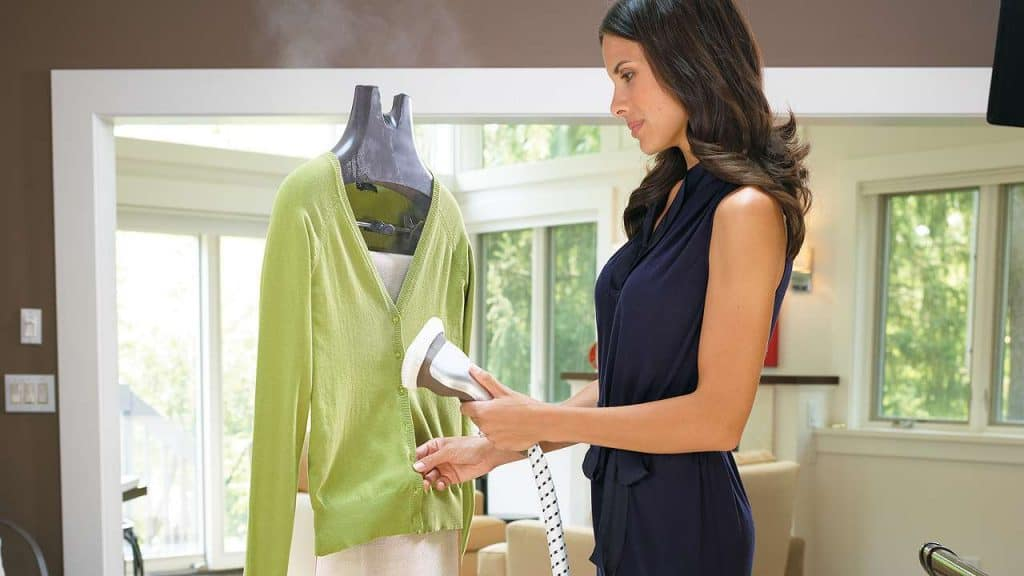 Woman with a handheld steamer