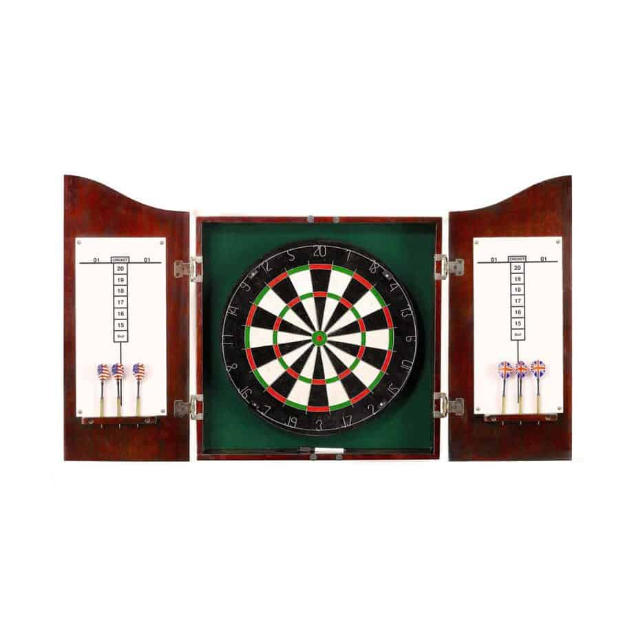 Centerpoint Solid Wood Dart board Cabinet – Solid Poplar with Dark Cherry Finish