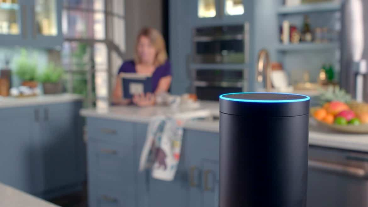 Woman in a smart home with alexa Echo