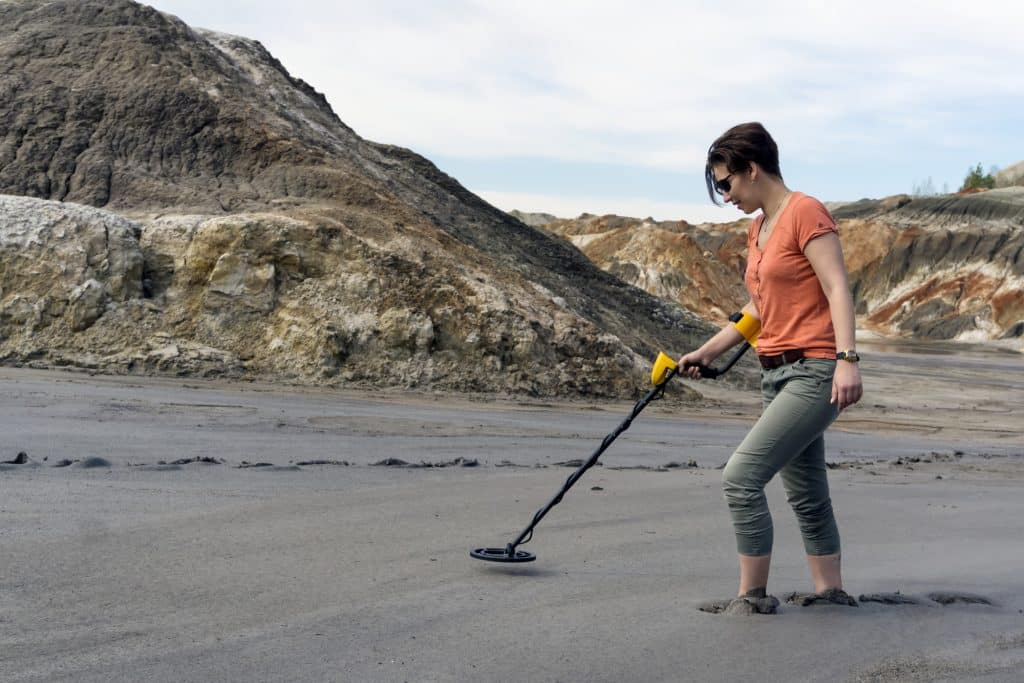 search with a metal detector in sedimentary sediments