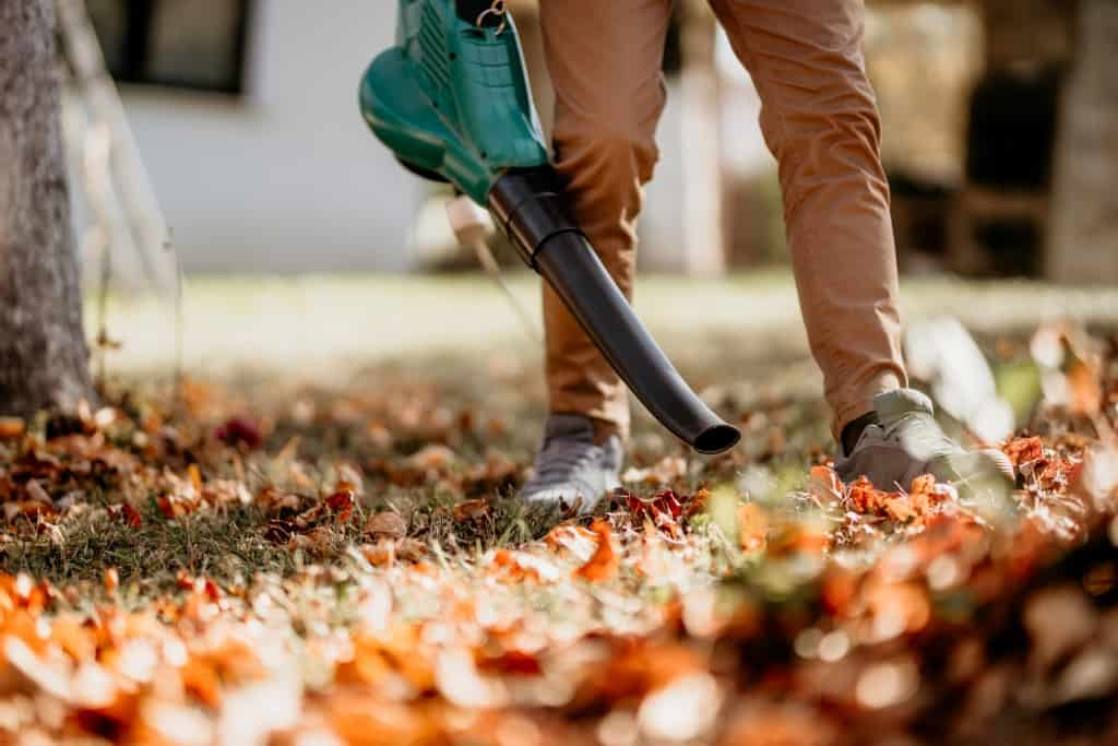 Man with a leaf blower and mulcher