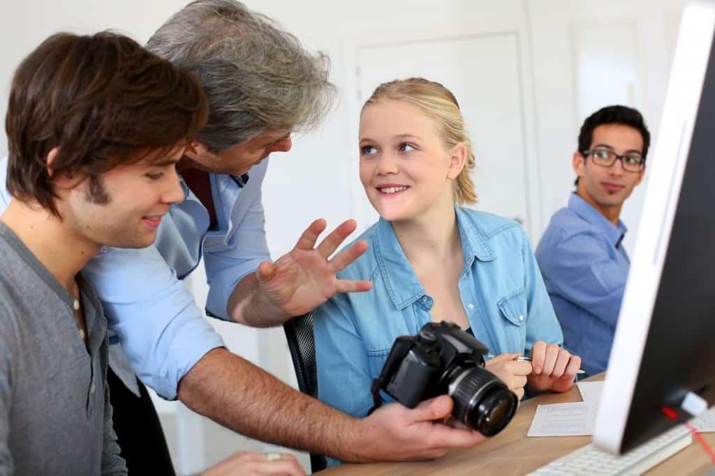 teacher with camera