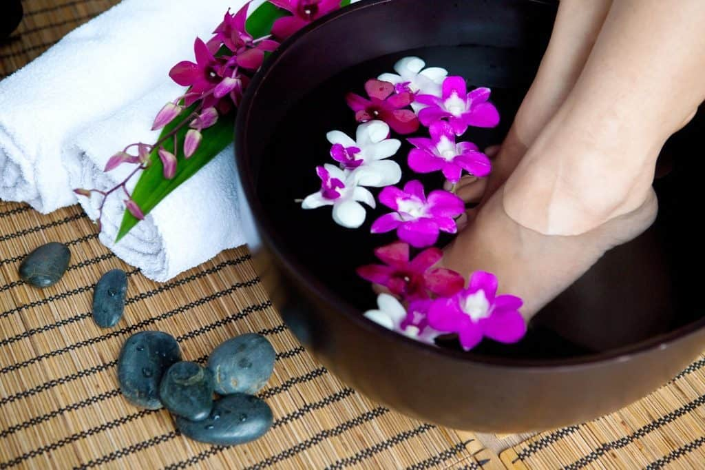 Woman's legs in a foot spa