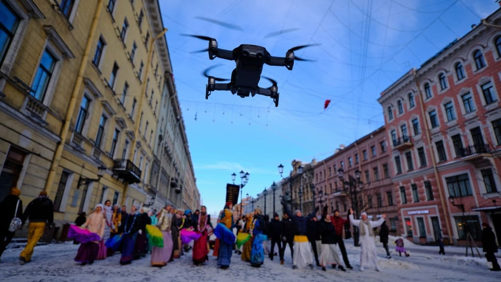 Drone At The Centre Of City taking Photos