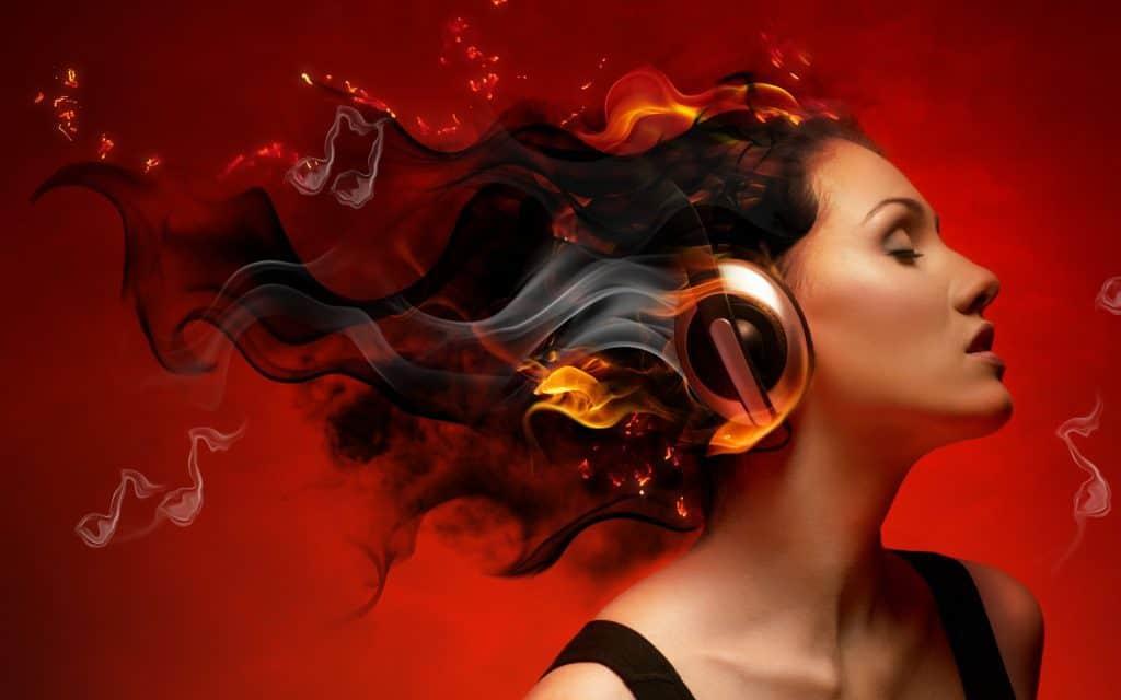 girl with bluetooth headphones