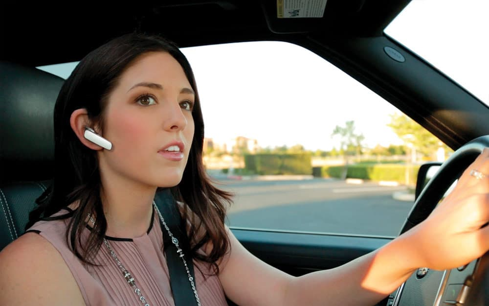 girl with bluetooth headset