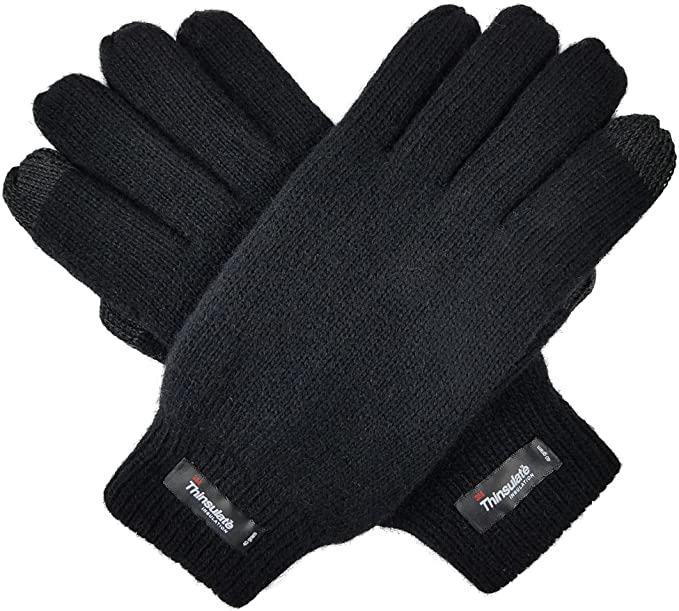 Bruceriver Men's Pure Wool Knitted Gloves